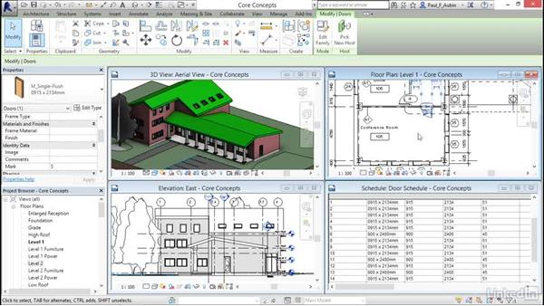 Working in one model with many views: Revit 2017: Essential Training for Architecture (Metric)