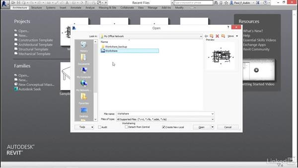 Accessing a multi-user projects using Workshare: Revit 2017: Essential Training for Architecture (Metric)
