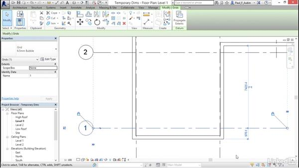 Refining a layout with temporary dimensions: Revit 2017: Essential Training for Architecture (Metric)