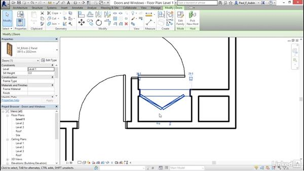 Adding doors and windows: Revit 2017: Essential Training for Architecture (Metric)