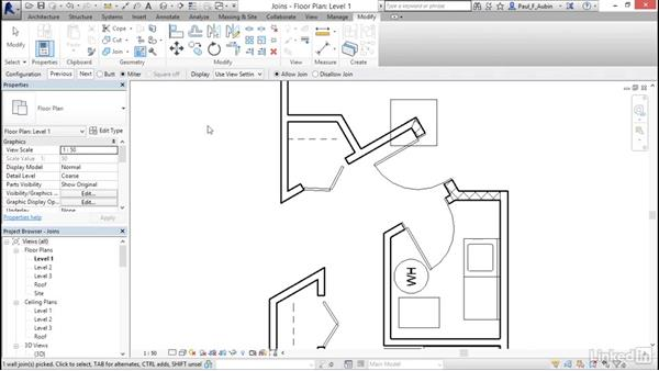 Wall joins: Revit 2017: Essential Training for Architecture (Metric)