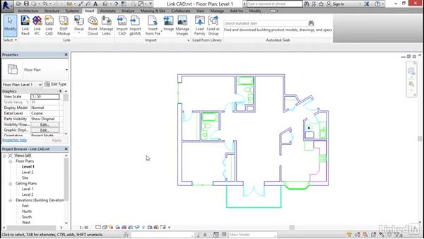 Linking AutoCAD DWG files: Revit 2017: Essential Training for Architecture (Metric)