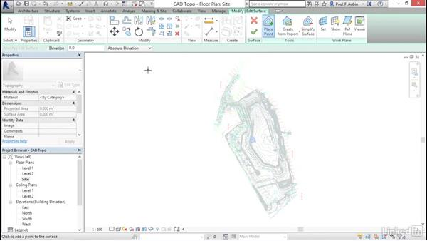 Creating topography from a DWG link: Revit 2017: Essential Training for Architecture (Metric)
