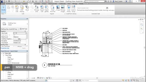 Understanding CAD inserts: Revit 2017: Essential Training for Architecture (Metric)