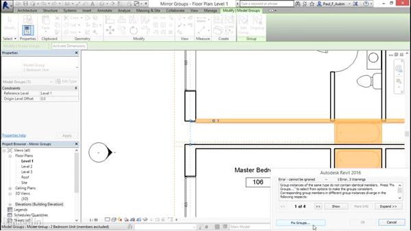 Mirroring groups to creat a layout: Revit 2017: Essential Training for Architecture (Metric)