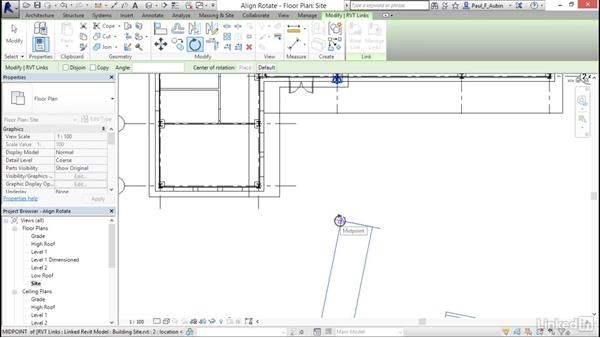 Rotating and aligning a Revit link: Revit 2017: Essential Training for Architecture (Metric)