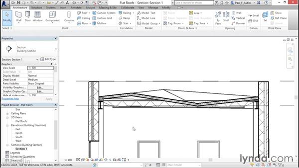Using the shape editing tools to create a flat roof: Revit 2017: Essential Training for Architecture (Metric)