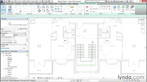 Working with stairs: Revit 2017: Essential Training for Architecture (Metric)
