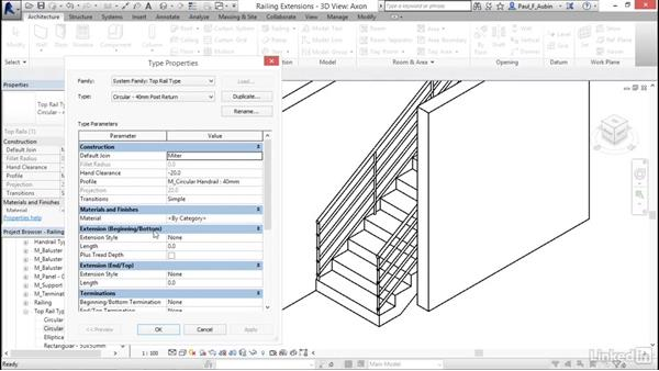 Adding extensions to railings: Revit 2017: Essential Training for Architecture (Metric)