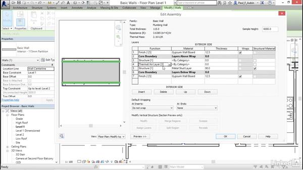 Creating a custom basic wall type: Revit 2017: Essential Training for Architecture (Metric)