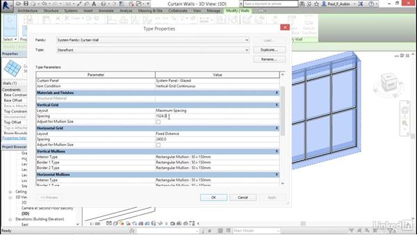 Adding curtain walls: Revit 2017: Essential Training for Architecture (Metric)