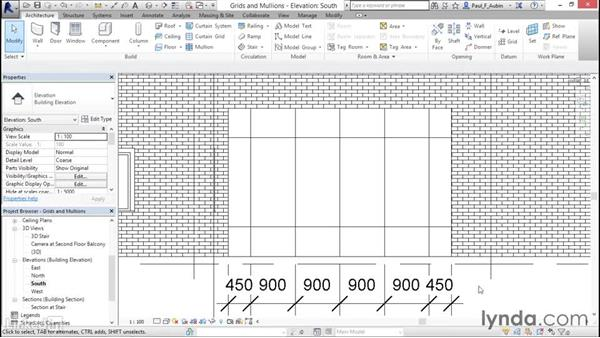 Adding curtain grids, mullions, and panels: Revit 2017: Essential Training for Architecture (Metric)