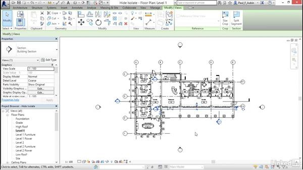Hiding and isolating objects in a model: Revit 2017: Essential Training for Architecture (Metric)