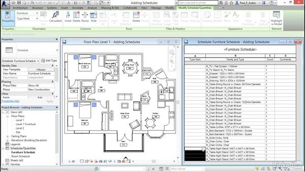 Adding schedule views: Revit 2017: Essential Training for Architecture (Metric)
