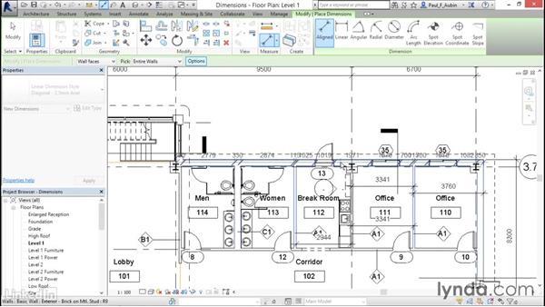 Adding dimensions: Revit 2017: Essential Training for Architecture (Metric)
