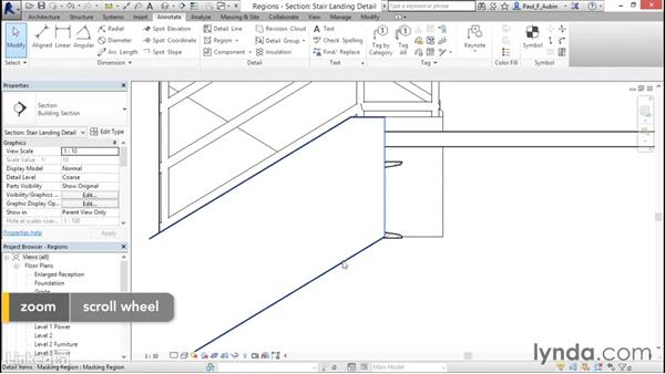 Adding filled and masking regions: Revit 2017: Essential Training for Architecture (Metric)