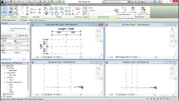 Using reference planes, parameters, and constraints: Revit 2017: Essential Training for Architecture (Metric)