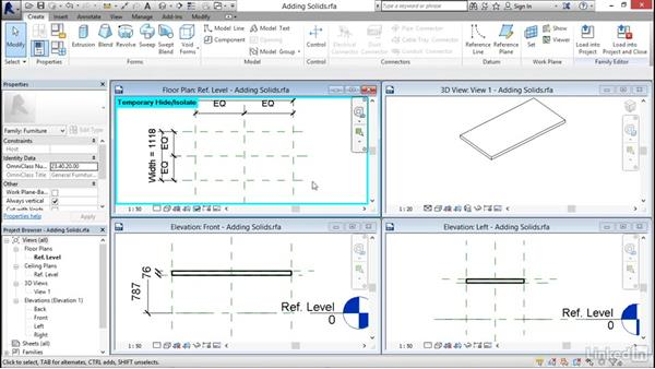 Adding solid geometry: Revit 2017: Essential Training for Architecture (Metric)