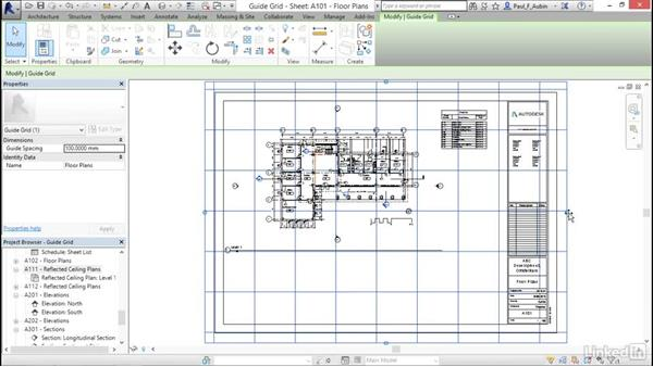 Aligning views with a guide grid: Revit 2017: Essential Training for Architecture (Metric)