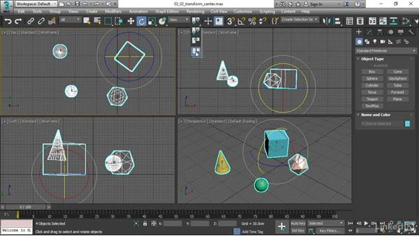 Choosing a transform center: 3ds Max 2017 Essential Training