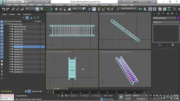 Collecting objects in groups: 3ds Max 2017 Essential Training