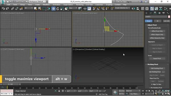 Revolving a surface with a Lathe modifier: 3ds Max 2017 Essential Training