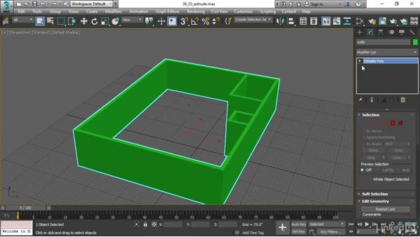 Creating solid geometry with the Extrude modifier: 3ds Max 2017 Essential Training