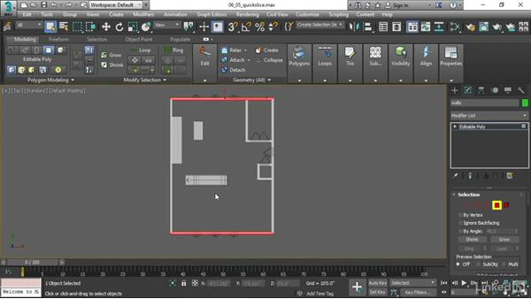 Correcting topology with QuickSlice: 3ds Max 2017 Essential Training
