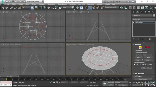 Adding the OpenSubDiv modifier: 3ds Max 2017 Essential Training