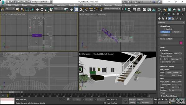 Creating a target camera: 3ds Max 2017 Essential Training