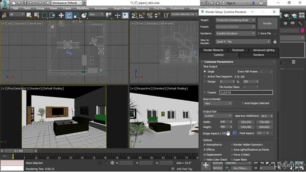 Choosing aspect ratio in Render Setup: 3ds Max 2017 Essential Training