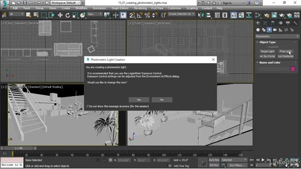Creating photometric lights: 3ds Max 2017 Essential Training