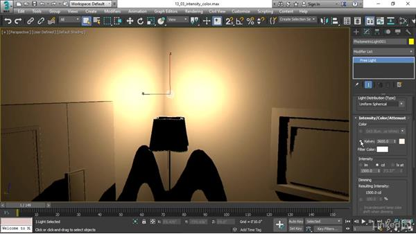 Adjusting light intensity and color: 3ds Max 2017 Essential Training