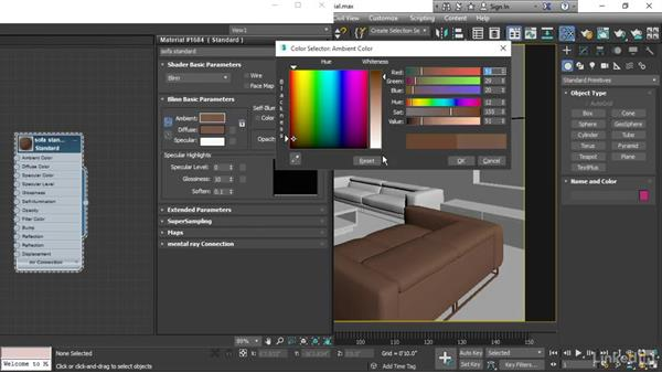 Adjusting standard material parameters: 3ds Max 2017 Essential Training