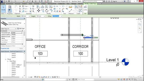 Adding cable tray: Revit 2017: Essential Training for MEP (Metric)