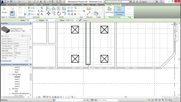 Adding a supply duct: Revit 2017: Essential Training for MEP (Metric)