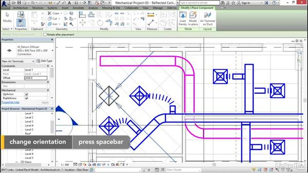 Adding a return duct: Revit 2017: Essential Training for MEP (Metric)