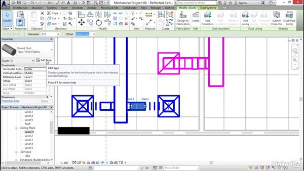 Adding duct accessories and fittings: Revit 2017: Essential Training for MEP (Metric)