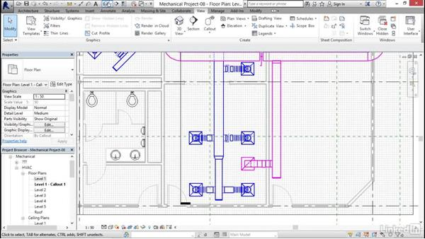 Tagging a duct: Revit 2017: Essential Training for MEP (Metric)