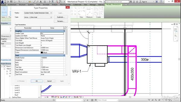 Working with dimensions: Revit 2017: Essential Training for MEP (Metric)