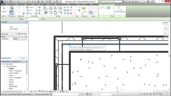 Adding grids to the model: Revit 2017: Essential Training for Structure