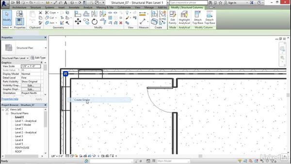 Adding steel columns to the model: Revit 2017: Essential Training for Structure