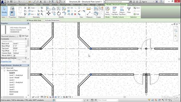 Creating column offsets: Revit 2017: Essential Training for Structure