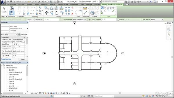 Adding foundation walls: Revit 2017: Essential Training for Structure