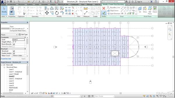 Adding a concrete floor with steel decking: Revit 2017: Essential Training for Structure