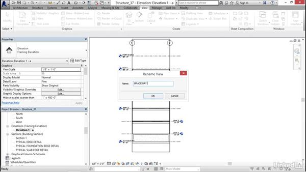 Adding a brace frame elevation: Revit 2017: Essential Training for Structure
