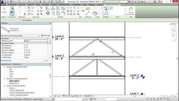 Adding a brace frame: Revit 2017: Essential Training for Structure