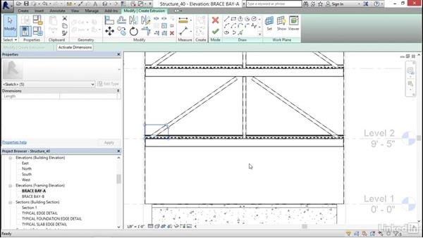 Adding brace frame gussets: Revit 2017: Essential Training for Structure