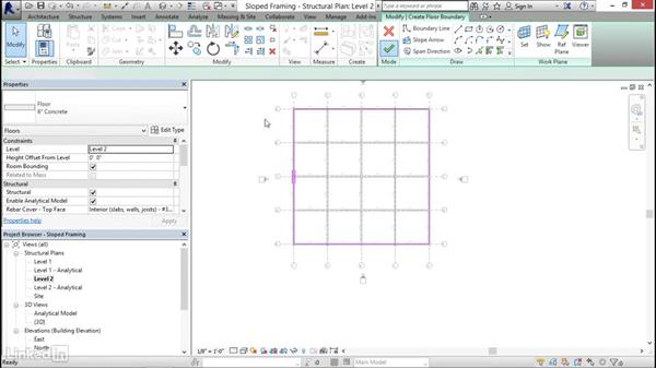 Pitching floors to structure: Revit 2017: Essential Training for Structure