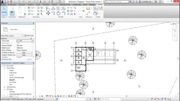 Understanding selection toggles: Revit 2017: Essential Training for Architecture (Metric)